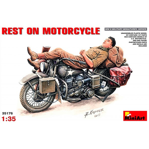 miniart figura y moto rest on motorcycle 1 35 1