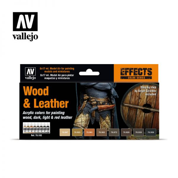 vallejo wood and leather 70182 vallejo model color effects set 1