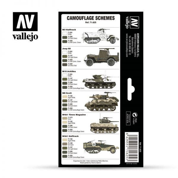 vallejo WWII US Army Europe North Africa 1942 1945 vallejo afv 71625 back
