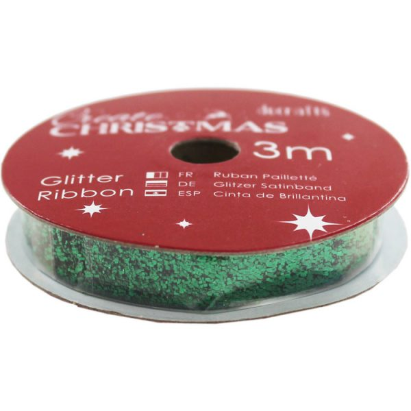 west papermania create christmas glitter ribbon groen pma 367915