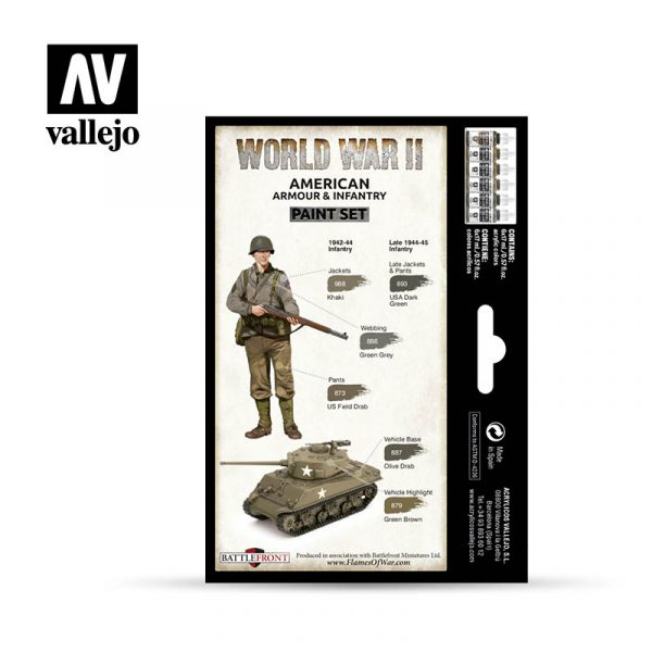 vallejo wargames wwii american armour infantry 70203 back