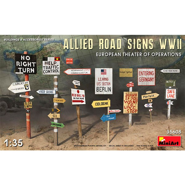 miniart 35608 allied road signs wwii europe
